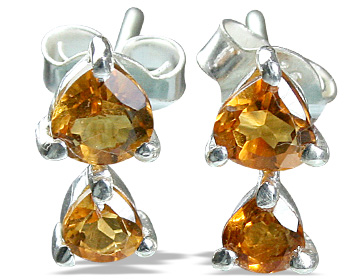 Design 12822: yellow citrine engagement, post earrings