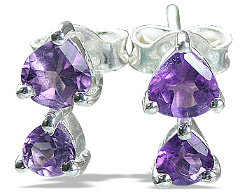 Design 12823: purple amethyst engagement, post earrings