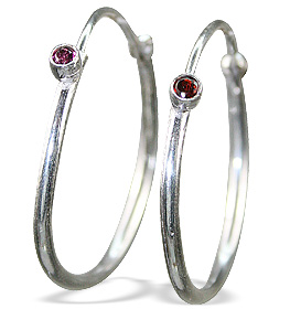 Design 12842: red garnet classic, hoop earrings