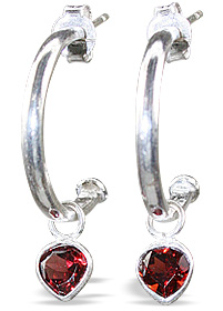 Design 12843: red garnet contemporary, drop, heart, hoop earrings