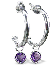 Design 12845: purple amethyst contemporary, drop, hoop earrings