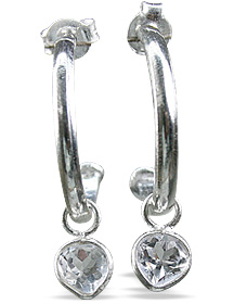 Design 12846: white white topaz contemporary, drop, hoop earrings