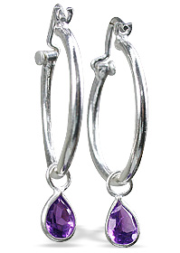 Design 12852: purple amethyst contemporary, drop, hoop earrings