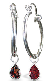 Design 12853: red garnet contemporary earrings