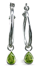 Design 12855: green peridot contemporary, drop, hoop earrings