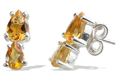 Design 12860: yellow citrine drop, post earrings