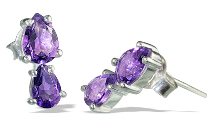 Design 12861: purple amethyst drop, post earrings