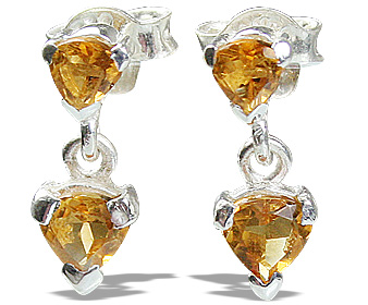 Design 12862: yellow citrine contemporary, post earrings