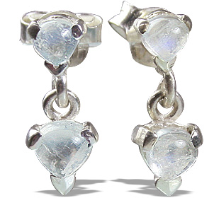 Design 12866: white moonstone post, studs earrings