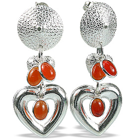 Design 12897: orange carnelian art-deco, heart, post earrings