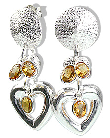 Design 12899: yellow citrine art-deco, heart, post earrings