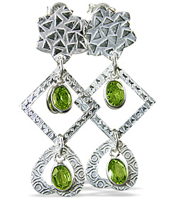 Design 12901: green peridot art-deco earrings