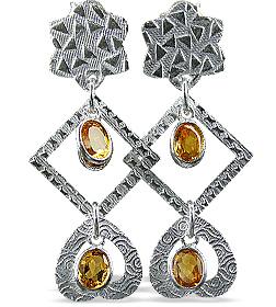 Design 12904: yellow citrine art-deco, heart, post earrings