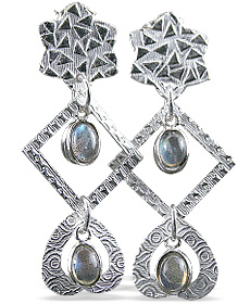 Design 12905: green,gray labradorite art-deco, heart, post earrings