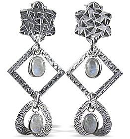 Design 12906: white moonstone art-deco earrings