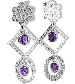Design 12908: purple amethyst art-deco, post earrings