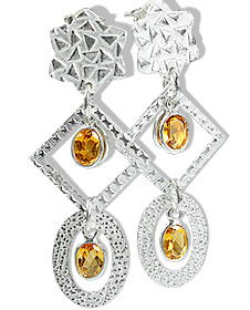 Design 12909: yellow citrine art-deco, post earrings