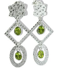 Design 12910: green peridot art-deco, post earrings