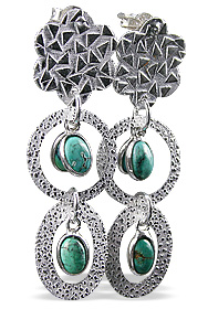 Design 12911: green turquoise art-deco earrings