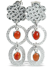 Design 12912: orange carnelian art-deco, flower, post earrings