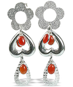Design 12915: orange carnelian drop, heart earrings