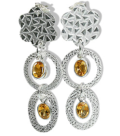 Design 12917: yellow citrine flower earrings