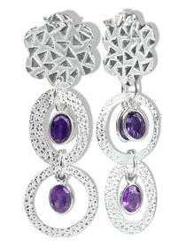 Design 12950: purple amethyst contemporary, post earrings