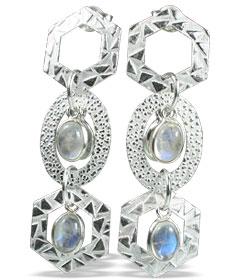 Design 13002: white moonstone contemporary, post earrings