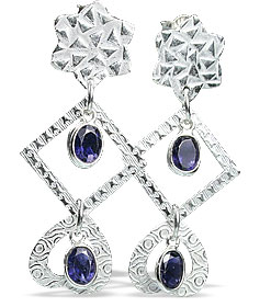 Design 13011: blue iolite contemporary, post earrings