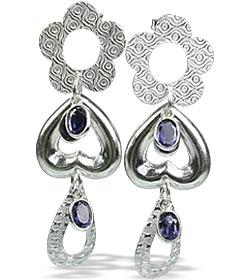 Design 13012: blue iolite contemporary, heart, post earrings