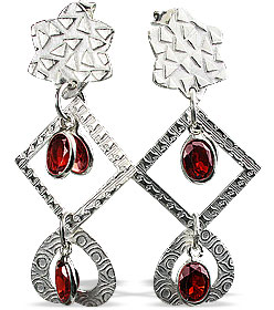 Design 13014: red garnet contemporary earrings