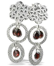 Design 13015: red garnet contemporary, post earrings