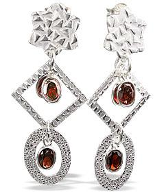 Design 13016: red garnet contemporary, post earrings