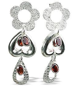 Design 13018: red garnet contemporary, post earrings