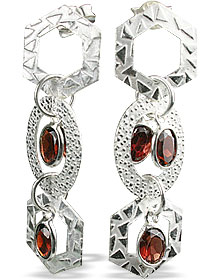 Design 13019: red garnet contemporary, post earrings