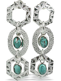 Design 13022: blue,green turquoise contemporary, post earrings