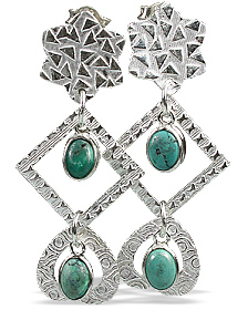 Design 13023: blue,green turquoise contemporary, post earrings