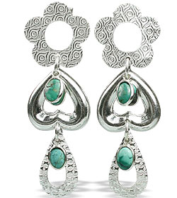 Design 13024: blue,green turquoise contemporary, post earrings
