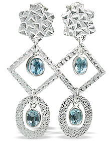 Design 13025: blue blue topaz contemporary, post earrings