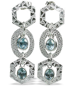 Design 13026: blue blue topaz contemporary, post earrings