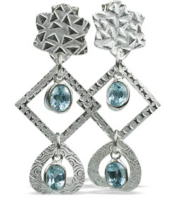 Design 13027: blue blue topaz contemporary, post earrings