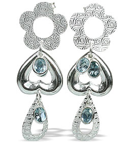 Design 13028: blue blue topaz contemporary, post earrings