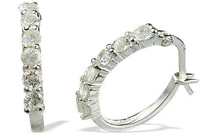 Design 13119: white white topaz contemporary, hoop earrings