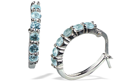 Design 13121: blue blue topaz contemporary, hoop earrings