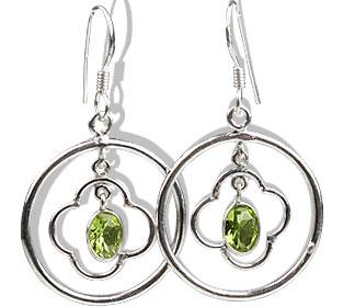 Design 13124: green peridot contemporary, hoop earrings