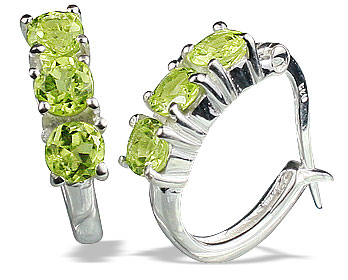 Design 13127: green peridot contemporary, hoop earrings