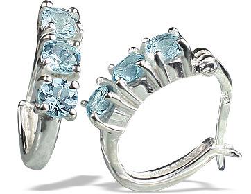 Design 13129: blue blue topaz contemporary, hoop earrings