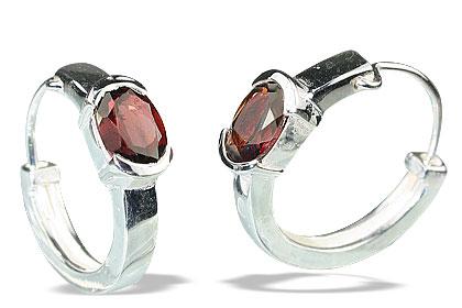 Design 13132: red garnet contemporary, hoop earrings