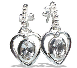 Design 13205: white white topaz heart earrings