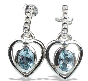 Design 13207: blue blue topaz heart earrings